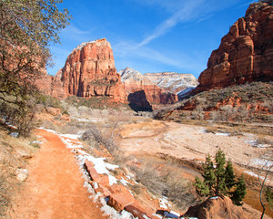 Aluminium Prints Arizona Angels Landing Hiking Trail in the Winter in the Virgin River Canyon in Zion National Park in Utah US of A