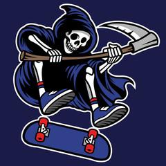 grim reaper riding skateboard
