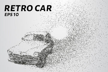 Retro car of the particles. Old car consists of circles and points. Vector illustration
