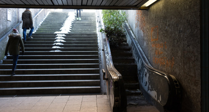 Escalator covered in grass leading upwards to an opening