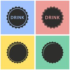 Bottle cap icon set.