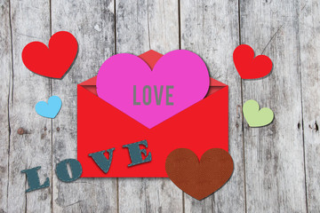 heart shape on valentine card