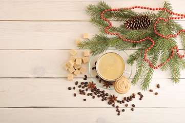 coffee Cup with cookies on a Christmas background