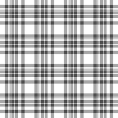 Seamless tartan plaid pattern. Checkered fabric texture print in stripes of grey and white.