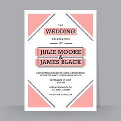 Retro Wedding Invitation template. Tradition decoration for wedding. Vector illustration