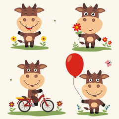 Vector set funny bull plays on meadow. Collection isolated bull on bicycle, with balloon and flower in cartoon style.