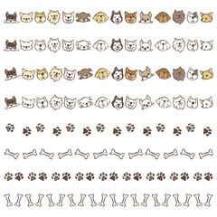 いろいろな種類の犬、骨や足跡の飾り罫線