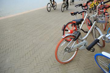 closeup of bike share on seaside