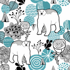 Polar bear seamless pattern.