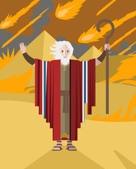 old moses holding his staff and fire rain in egypt pyramids