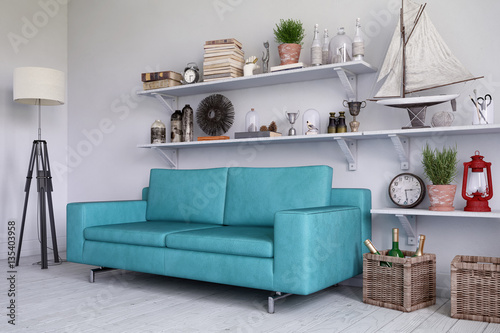 skandinavisches nordisches wohnzimmer mit einem sofa regalen und deko stockfotos und. Black Bedroom Furniture Sets. Home Design Ideas