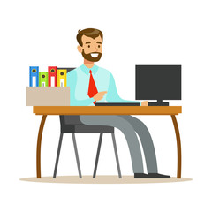 Man Working At His Desk With Computer And Folders, Part Of Office Workers Series Of Cartoon Characters In Official Clothing