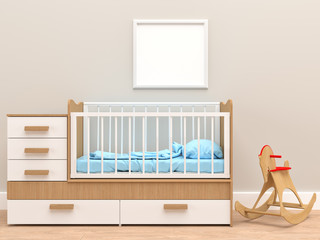 Baby's room with blank frame