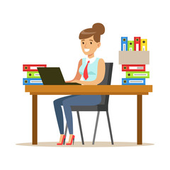 Woman Working At Her Desk With Computer And Folders, Part Of Office Workers Series Of Cartoon Characters In Official Clothing