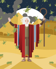 moses with his staff in egypt pyramids town falling rain frogs and toads miracle