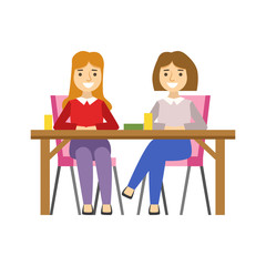 Girlfriends Sitting At The Table, Smiling Person Having A Dessert In Sweet Pastry Cafe Vector Illustration