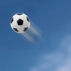 Football flying into the sky.