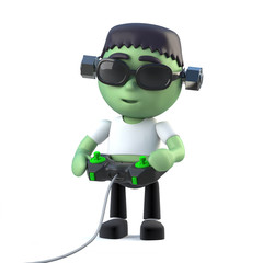 3d Funny Halloween Frankenstein monster character plays a video game