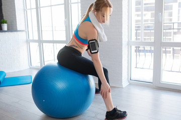 Sport fitness woman pain leg at home