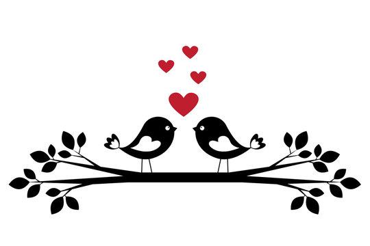 Silhouette cute birds in love