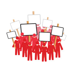 Vector image of people protesting with placards