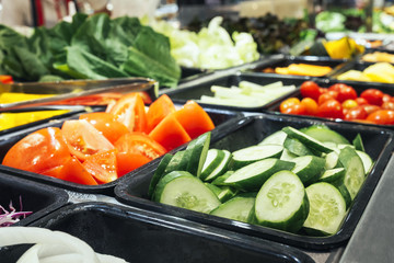 Salad Bar Fresh Vegetables Sliced Cucumber Tomato Healthy food