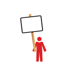 Vector image of a person protesting with a placard
