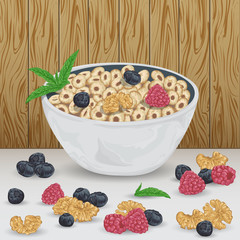 Cereal rings in bowl with raspberry, blueberry, walnut and mint leaves on wooden background. Healthy breakfast. Isolated elements. Hand drawn vector illustration