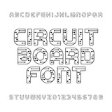 Circuit board type font. Vector Alphabet. Digital high-tech style ...