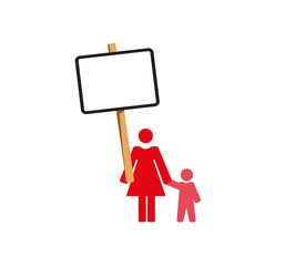 Vector image of a woman and child protesting with a placard