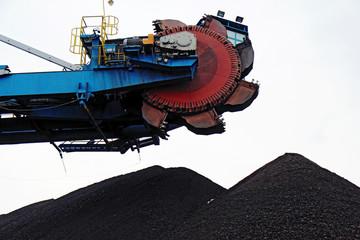 huge bucket wheel excavator in brown coal mine