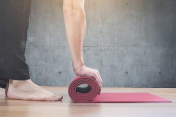 man doing yoga workout