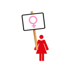 Vector image of a woman protesting with a placard bearing female symbol