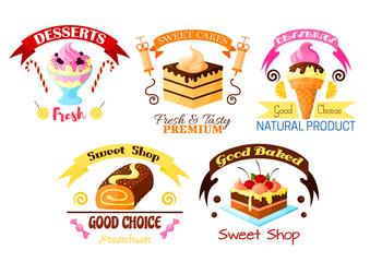 Dessert emblem set, cake, cupcake, ice cream icons