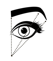 Monochrome scheme of ideal proportions eyebrows and eyes. Tutorial how to shape the eyebrow on face. Black color. Manual for shaping the eyebrows. Vector illustration