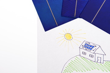 Children's picture - house with solar energy. solar panel on the white background. Winter time saving. solar cell elements. Solar cell panel for clean energy. space for text