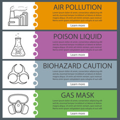 Industrial pollution banner templates set