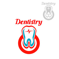 Dentistry vector icon or emblem of tooth symbol