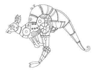 Steampunk style kangaroo coloring book vector