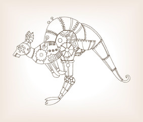 Ancient draft of mechanical kangaroo vector