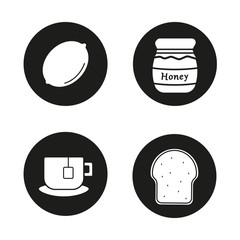 Breakfast items icons set