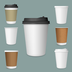 Realistic set of  paper Coffee Cups