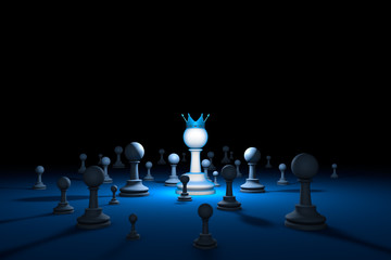 Chess country. Leader (chess metaphor). 3D render illustration.