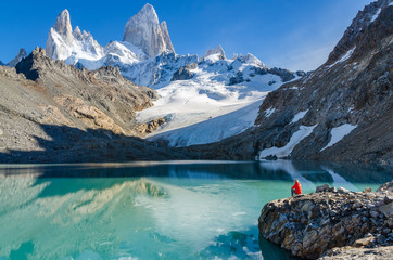 Woman admiring Fitz Roy scenic view Wall mural