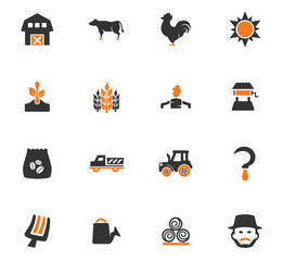 Agriculture and farming icons set