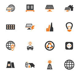 Alternative energy icons set
