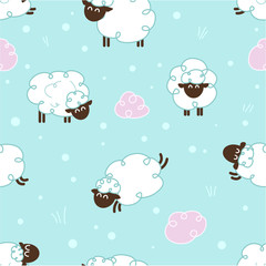 Sheeps - vector pattern