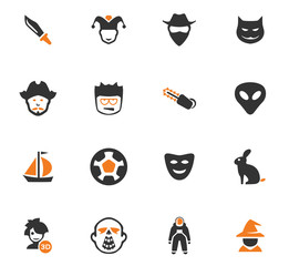 Genres of cinema icons set