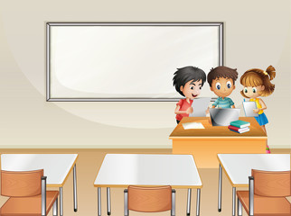 Students working in group in classroom