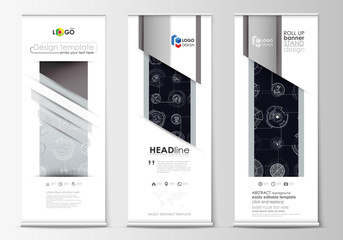 Roll up banner stands, flat templates, geometric style, corporate vertical vector flyers, flag layouts. High tech, connecting system. Science and technology concept. Futuristic abstract background.